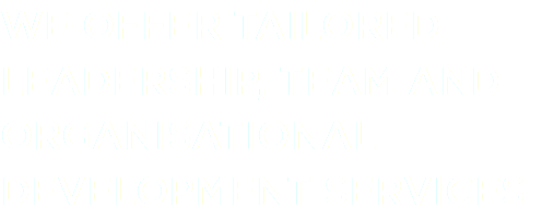 WE OFFER TAILORED LEADERSHIP, TEAM AND ORGANISATIONAL